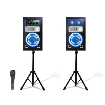 Technical Pro STAGEPACK5 Bluetooth Stage Speaker System Package with 2 Tripods and Mics