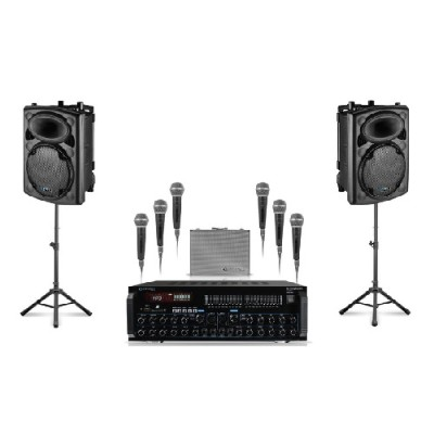 Technical Pro STAGEPACK12 Package-2x12 Speakers Mic Mixer Amp 2 Tripods 6 Mics / Cables