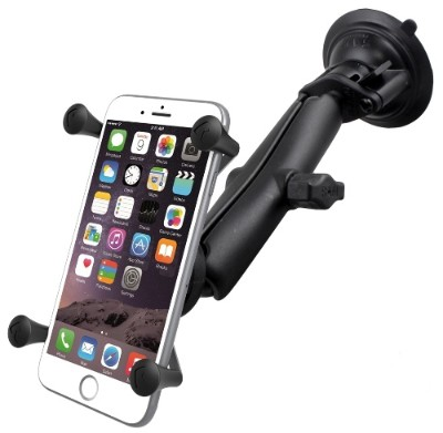 RAM Mounts RAM-B-166-C-UN10U Twist Lock Suction Cup Mount with LONG Length Double Socket Arm & Universal X-Grip Large Phone/Phablet Cradle 40135125