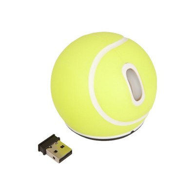 Urban Factory SBA01UF Tennis ball form - Mouse - optical - 2 buttons - wireless - 2.4 GHz - USB wireless receiver - yellow