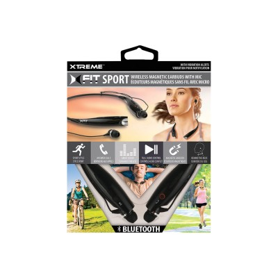 Jem Accessories XBH91003BLK Xtreme XFit Sport Bluetooth Magnetic Earbuds - Earphones with mic - in-ear - behind-the-neck mount - wireless - Bluetooth - black