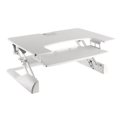 Ergotech FDM-DESK-W Freedom Desk - Stand for 2 LCD displays / keyboard / mouse - plastic  metal - white - desktop stand