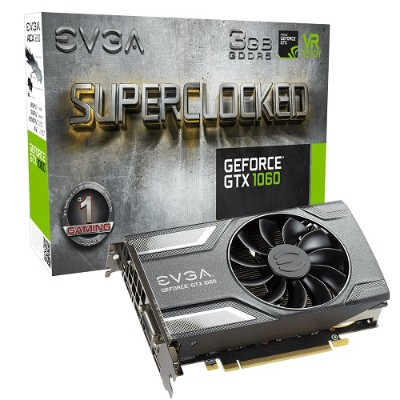 Evga 03G-P4-6162-KR GeForce GTX 1060 SC Gaming - Graphics card - GF GTX 1060 - 3 GB GDDR5 - PCIe 3.0 x16 - DVI  HDMI  3 x DisplayPort