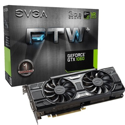 Evga 03G-P4-6367-KR GeForce GTX 1060 FTW+ GAMING ACX 3.0 - Graphics card - GF GTX 1060 - 3 GB GDDR5 - PCIe 3.0 x16 - DVI  HDMI  3 x DisplayPort