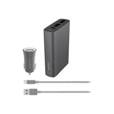 Belkin F5Z0634BT04-GRY MIXIT Power Pack Car Kit - External battery pack / power adapter - car 6600 mAh - 3.4 A - 2 output connectors (USB (power only)) - on cab 40244993