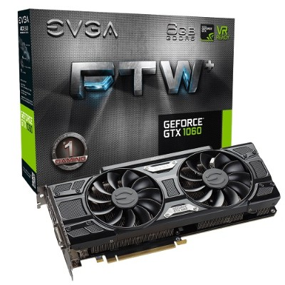 Evga 06G-P4-6368-KR GeForce GTX 1060 FTW+ GAMING ACX 3.0 - Graphics card - GF GTX 1060 - 6 GB GDDR5 - PCIe 3.0 x16 - DVI  HDMI  3 x DisplayPort