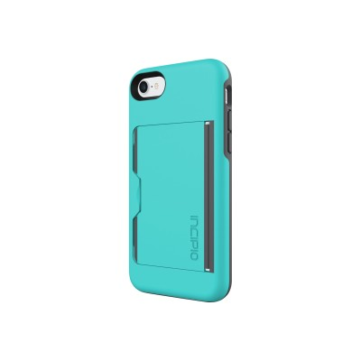 Incipio IPH-1477-TQC Stowaway Credit Card Case with Integrated Stand for iPhone 7 - Turquoise/Charcoal