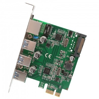 Syba Multimedia SD-PEX50100 3 PORT USB 3.1 GEN 1 AND GIGABIT ETHERNET PCI-E 2.0 X1 CARD