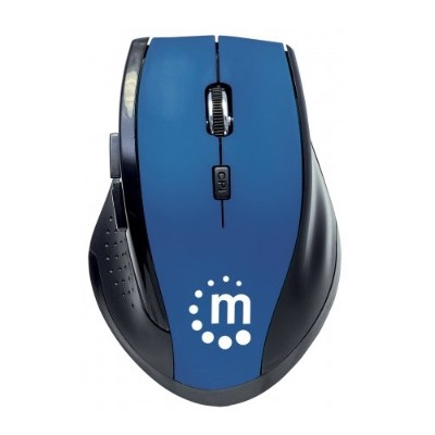 Manhattan 179294 Curve Wireless Optical Mouse - USB  Five Button with Scroll Wheel  1600dpi  Blue/Black