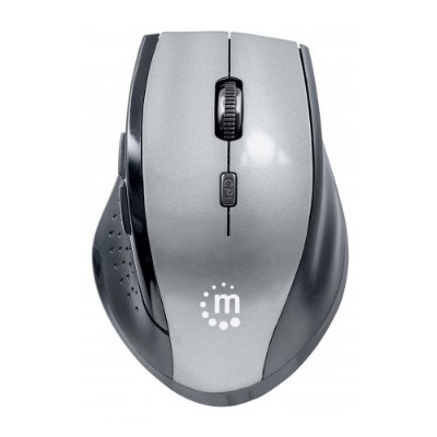 Manhattan 179379 Curve Wireless Optical Mouse - USB  Five Button with Scroll Wheel  1600dpi  Gray/Black