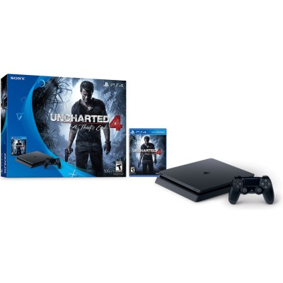 Sony 3001504 PlayStation 4 - Game console - HDR - 500 GB HDD - jet black - Uncharted 4: A Thief's End