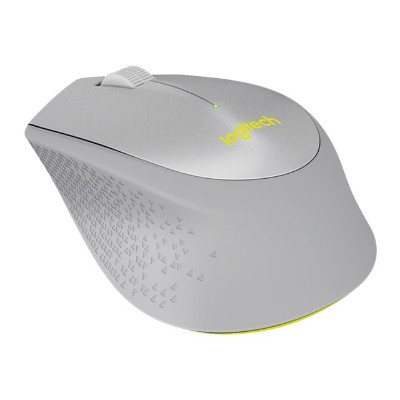 Logitech 910-004908 M330 SILENT PLUS - Mouse - optical - 3 buttons - wireless - 2.4 GHz - USB wireless receiver - gray  yellow
