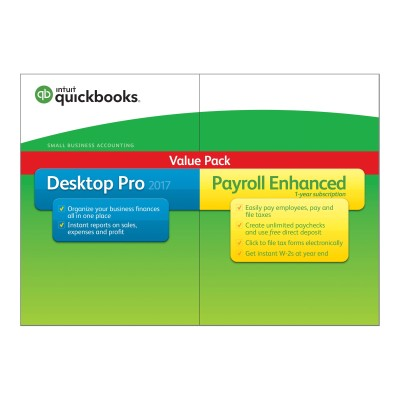 Intuit 428235 QuickBooks Desktop Pro 2017 - Box pack - 1 user - DVD - Win - with Enhanced Payroll 2017