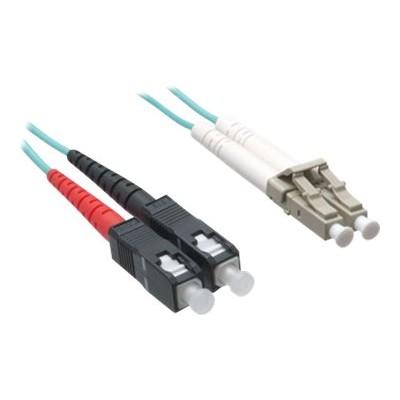 Axiom Memory LCSC10GA-40M-AX Network cable - LC multi-mode (M) to SC multi-mode (M) - 131 ft - fiber optic - 50 / 125 micron - OM3 - riser - aqua