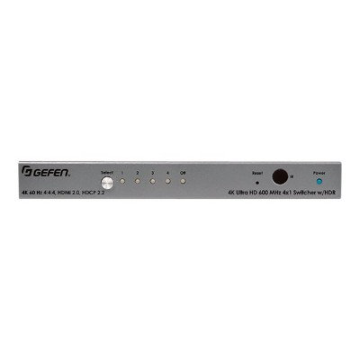 Gefen EXT-UHD600-41 Ultra HD 600 MHz 4x1 Switcher for HDMI w/ HDR - Video/audio switch - 4 x HDMI - desktop