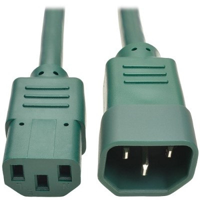 TrippLite P004-002-AGN 2ft Computer Power Extension Cord 10A 18 AWG C14 to C13 Green 2' - Power extension cable - IEC 60320 C14 to IEC 60320 C13 - 2 ft - green