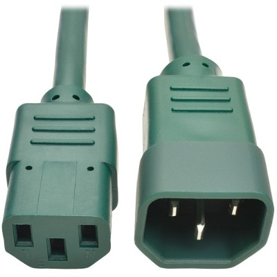 TrippLite P004-003-AGN 3ft Computer Power Extension Cord 10A 18 AWG C14 to C13 Green 3' - Power extension cable - IEC 60320 C14 to IEC 60320 C13 - 3 ft - green
