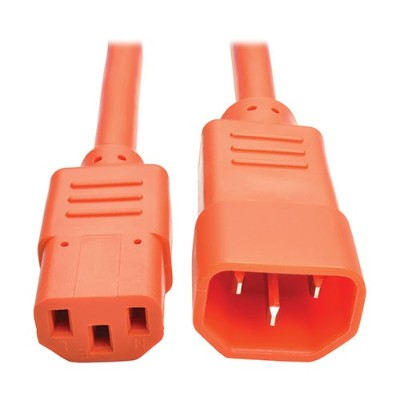 TrippLite P005-002-AOR 2ft Heavy Duty Power Extension Cord 15A 14 AWG C14 C13 Orange 2'