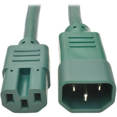 TrippLite P018-002-AGN 2ft Heavy Duty Power Extension Cord 15A 14 AWG C14 C15 Green 2' - Power extension cable - IEC 60320 C14 to IEC 60320 C15 - 2 ft - green