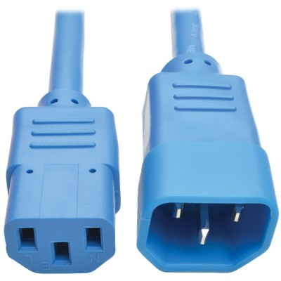 TrippLite P004-003-ABL 3ft Computer Power Extension Cord 10A 18 AWG C14 to C13 Blue 3' - Power extension cable - IEC 60320 C14 to IEC 60320 C13 - 3 ft - blue