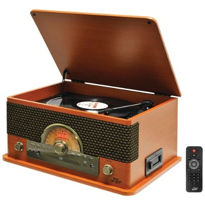 Pyle PTCD56UBWD Retro-Style Bluetooth Turntable with Vinyl to MP3 Recording  CD Player & Cassette Player (Wood Style)