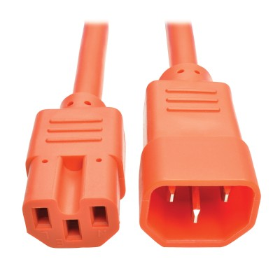 TrippLite P018-006-AOR Heavy-Duty Computer Power Cord  15A  14 AWG (IEC-320-C14 to IEC-320-C15)  Orange  6 ft.