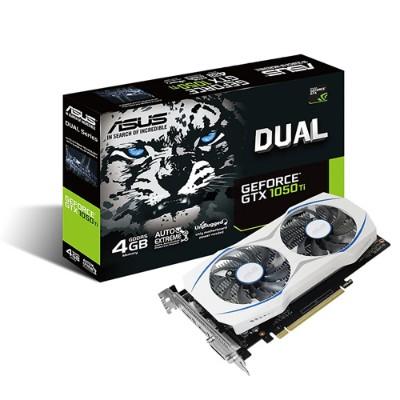 ASUS DUAL-GTX1050TI-O4G NVIDIA Geforce Dual GTX 1050 Ti 4GB Dual-Fan Edition DVI-D HDMI DP 1.4 Gaming Graphics Card