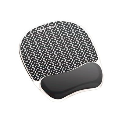 Fellowes 9549901 Photo Gel Mouse Pad Wrist Rest with Microban - Mouse pad with wrist pillow - black chevron