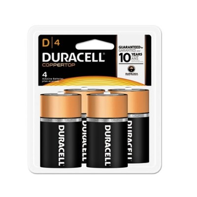 Duracell MN1300R4Z 1.5 Volt DC CopperTop Alkaline Batteries with Duralock Power Preserve Technology - 4 Pack