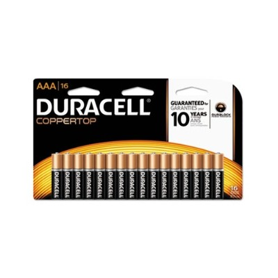 Duracell MN2400B16Z 1.5 Volt DC CopperTop Alkaline Batteries with Duralock Power Preserve Technology  AAA  16-Pack