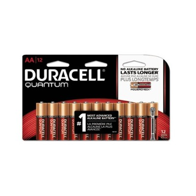 Duracell QU1500B12Z 9 Volt Quantum Alkaline AA Batteries with Duralock Power Preserve Technology - 12/Pack