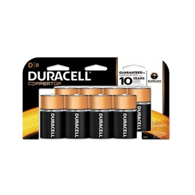 Duracell MN13RT8Z 1.5 Volt DC CopperTop D Alkaline Batteries with Duralock Power Preserve Technology 8/Pack