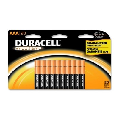 Duracell MN2400B20 CopperTop General Purpose Alkaline AAA Battery - 20/Pack