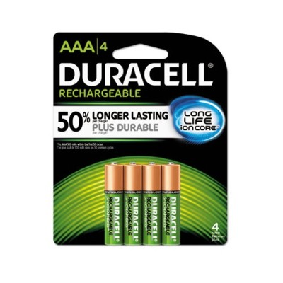 Duracell NLAAA4BCD Ion Core Rechargeable NiMH AAA Batteries with Duralock Power Preserve Technology - 4/Pack