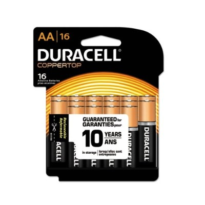 Duracell MN1500B16Z CopperTop Alkaline Batteries with Duralock Power Preserve Technology  AA  16/Pack