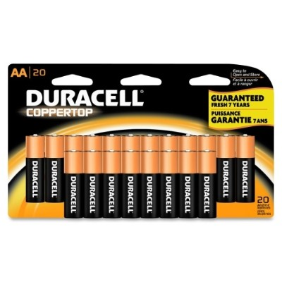 Duracell MN1500B20 1.5 Volt DC CopperTop General Purpose AA Battery - 20/Pack