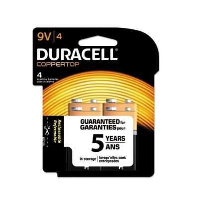 Duracell MN16RT4Z 9 Volt CopperTop Alkaline Batteries with Duralock Power Preserve Technology - 4/Pack