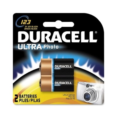 Duracell DL123AB2PK 3 Volt Ultra Lithium Photo Battery - 2 / Pack