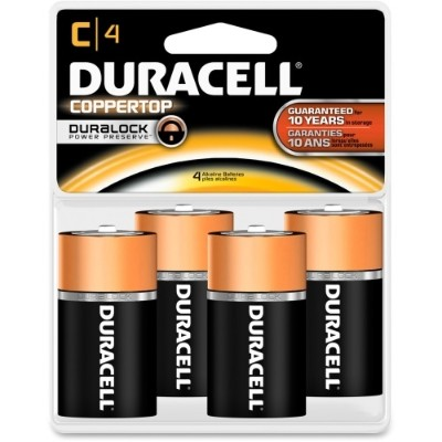 Duracell MN1400R4ZX 1.5 Volt DC Multipurpose Alkaline C Size Battery - 4/Pack
