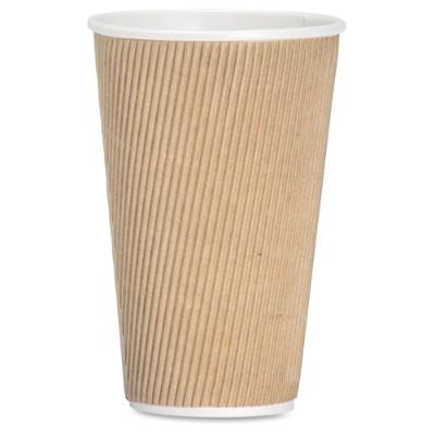Genuine Joe 11257pk Ripple Hot Cups 16 Fl Oz 25 / Pack Brown Hot Drink