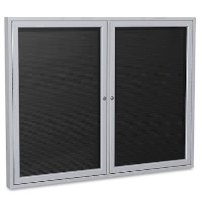 Ghent PA23648B-BK Aluminum Frame Enclosed Letterboard Set