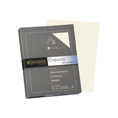 Southworth J938C Granite Specialty Paper - Ivory - Letter A Size (8.5 in x 11 in) - 120 g/m² - 250 roll(s) box - plain paper