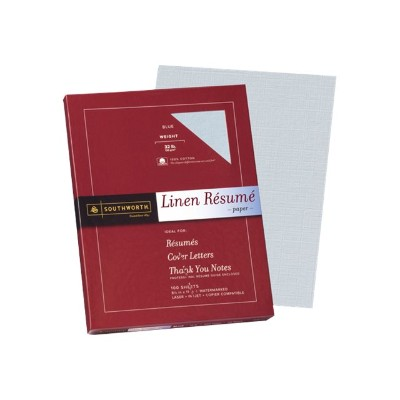 Southworth RD18BCFLN Linen Resume - Paper - cotton - blue - Letter A Size (8.5 in x 11 in) 100 sheet(s)