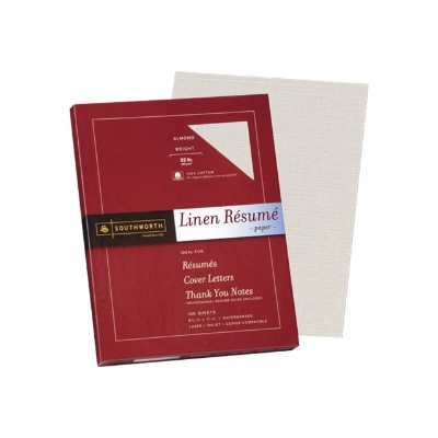 Southworth RD18ACFLN Linen Resume - Paper - cotton - almond - Letter A Size (8.5 in x 11 in) - 120 g/m² - 100 sheet(s)