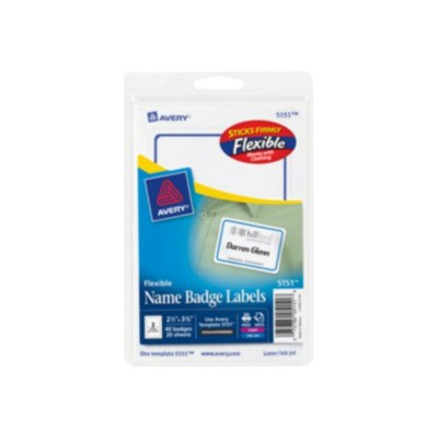 Avery Dennison 5151 Flexible - Name badge labels - removable self-adhesive - white with blue border - 2.335 in x 3.375 in 40 label(s) (20 sheet(s) x 2)