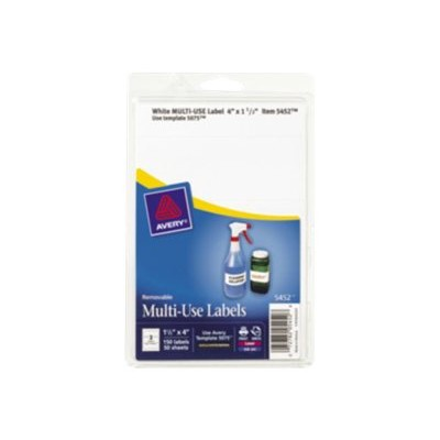Avery Dennison 05452 Multi-Use Label - Labels - removable adhesive - white - 1.5 in x 4 in 150 label(s) (50 sheet(s) x 3)