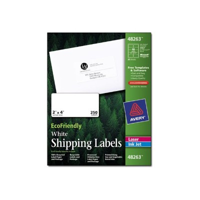 Avery Dennison 48263 EcoFriendly Shipping Labels - Labels - paper - self-adhesive - white - 2 in x 4 in 250 pcs. (25 sheet(s) x 10)