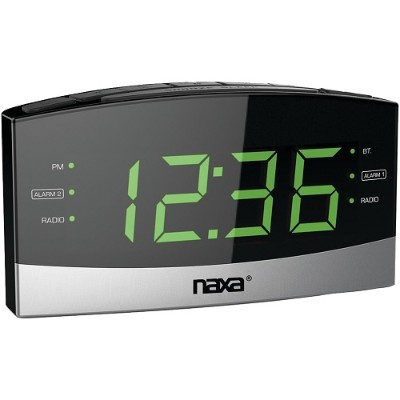 Naxa Electronics NRC-181 Bluetooth Easy-Read Dual-Alarm Clock with Daily Repeat
