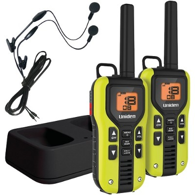 Uniden GMR4060-2CKHS 40-Mile 2-Way FRS/GMRS Radios with Headset (Yellow  Li-Ion Batteries)