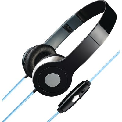 Digital Products International IAHL75B Stereo Designer Headphones with Microphone & Glowing Cable (Black)